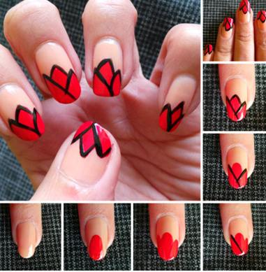 red paint nail art